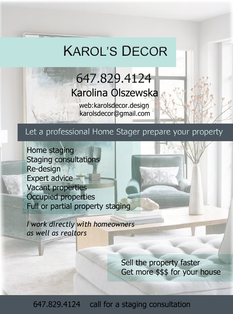 Karol's Decor Mississauga Ontario home staging Karolina Olszewska