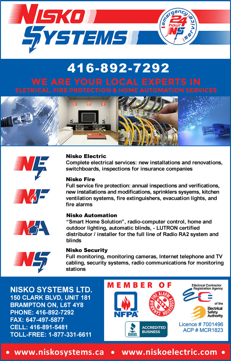Nisko Systems Complete Electrical and Fire Alarm Services Brampton Ontario